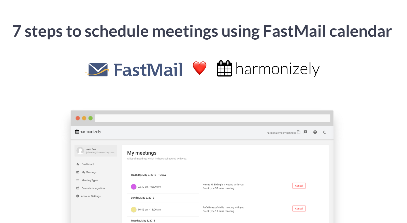 Schedule meetings using FastMail calendar